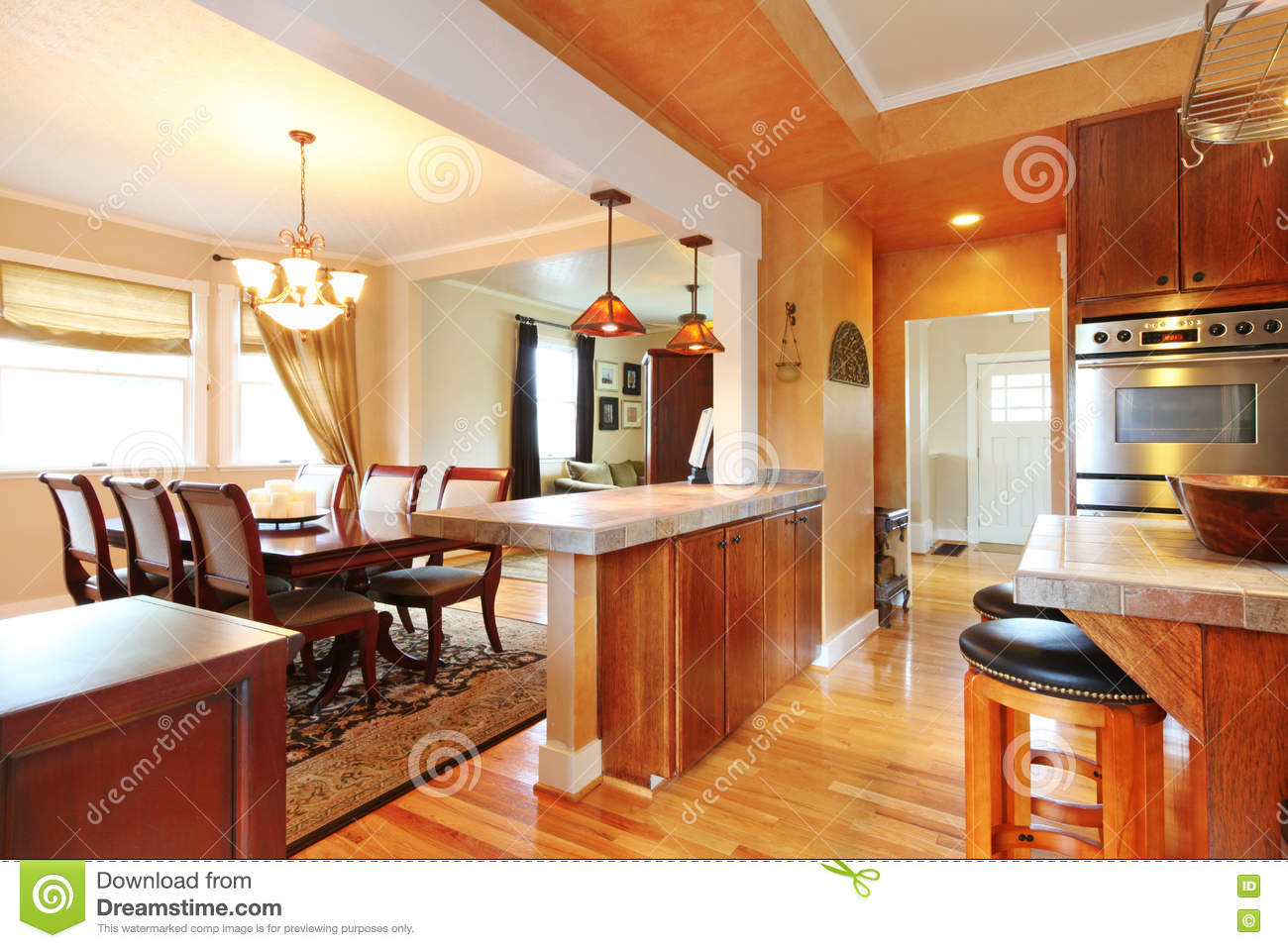 House Interior With Open Wall Design View Of Dining Table