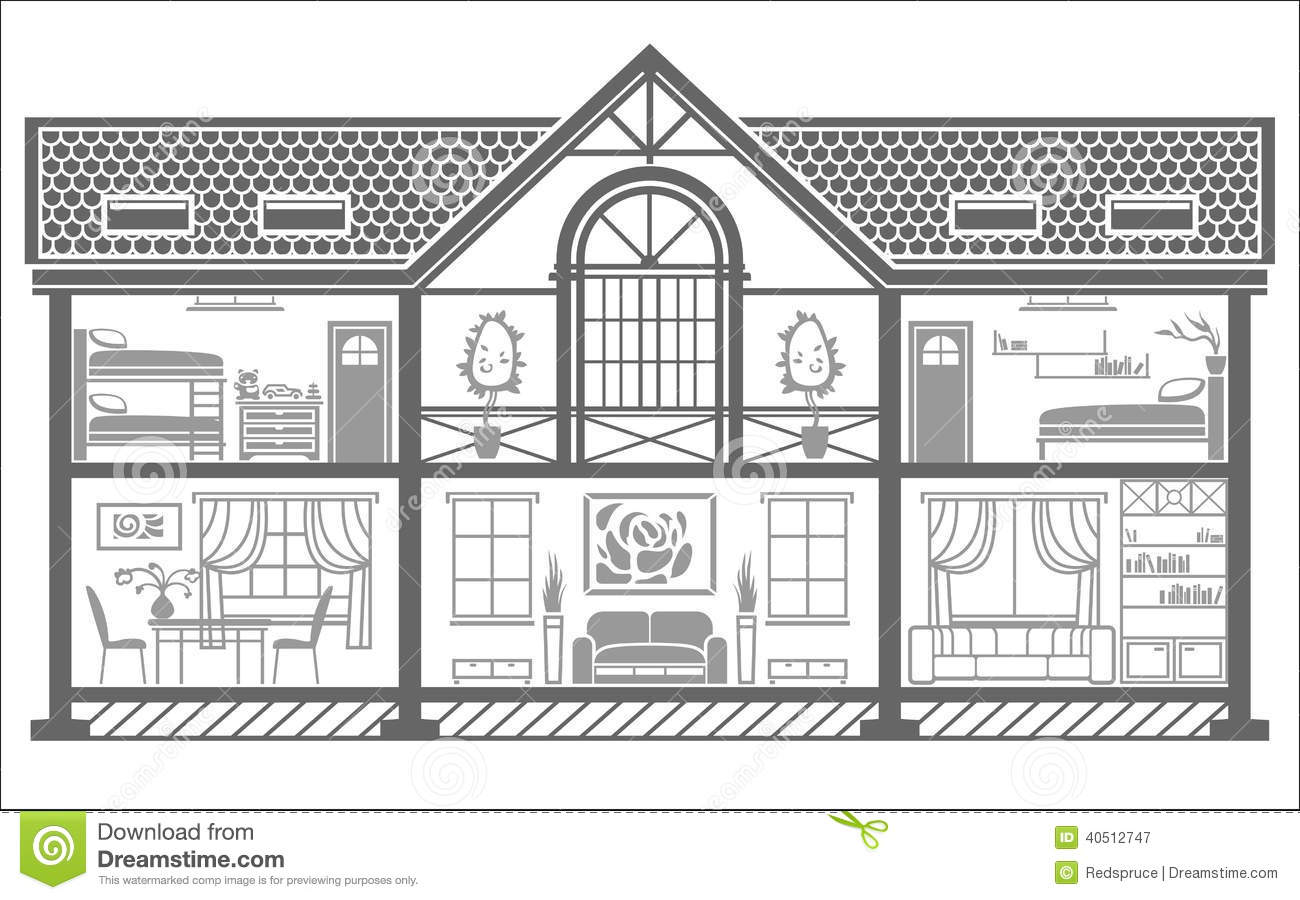 House Interior Silhouette Vector Illustration Stock
