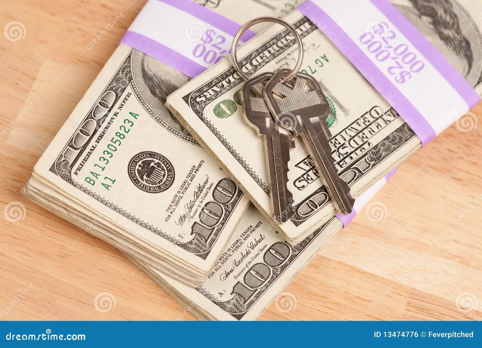 House Keys On Stack Of Money Stock Photo  Image 13474776