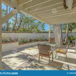 House With An Outdoor Eating Area On The Patio With White Curtains Stock Image Image Of Home Blue 150537561
