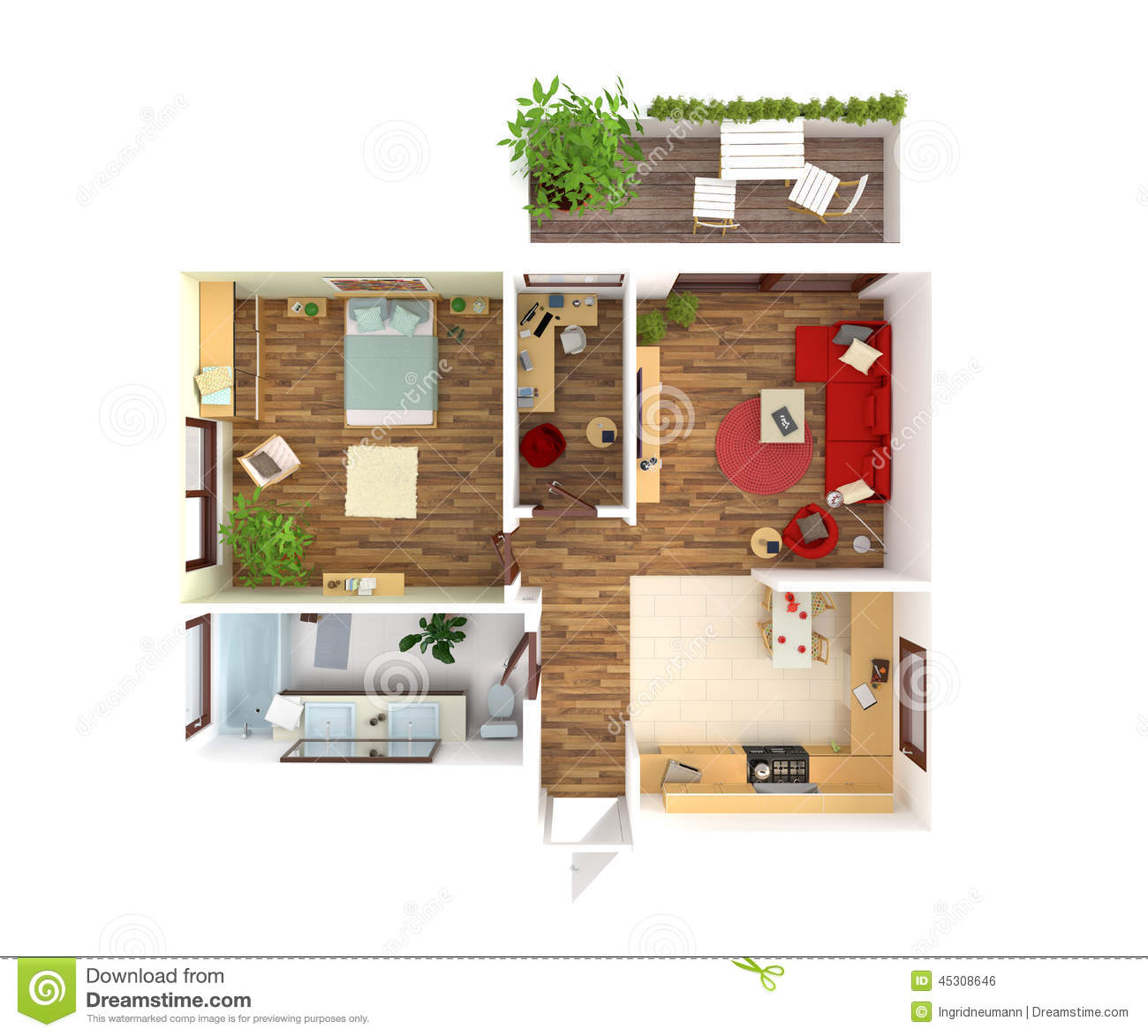 House Plan Top View Interior Design Stock Illustration Image