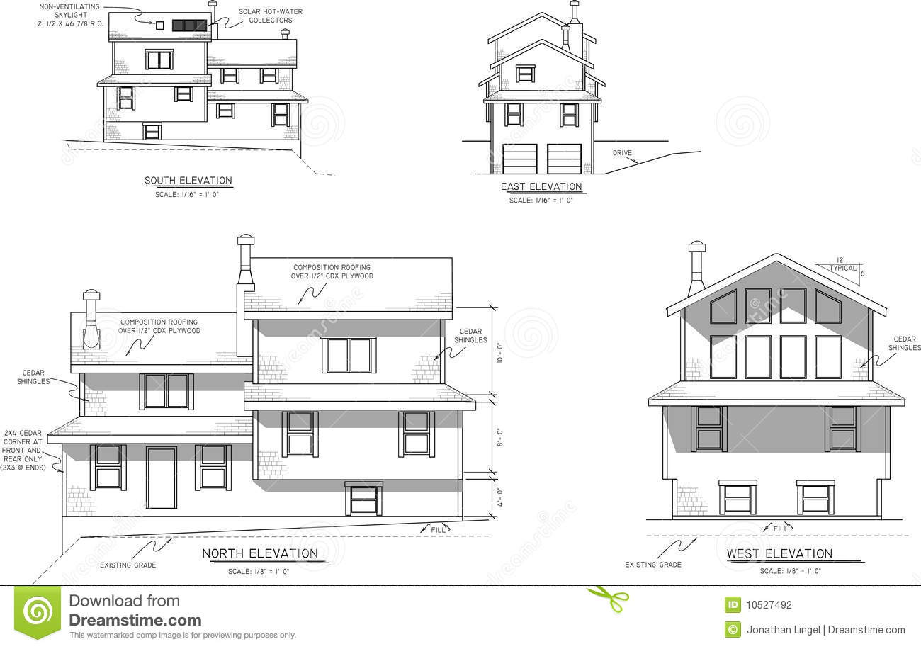 House Plans Elevation View Stock Photography