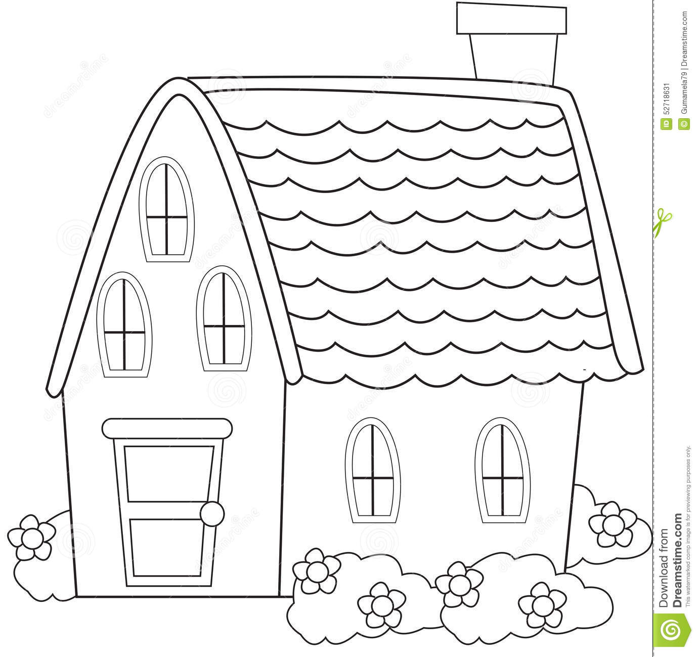 House With Plants Coloring Page Stock Illustration