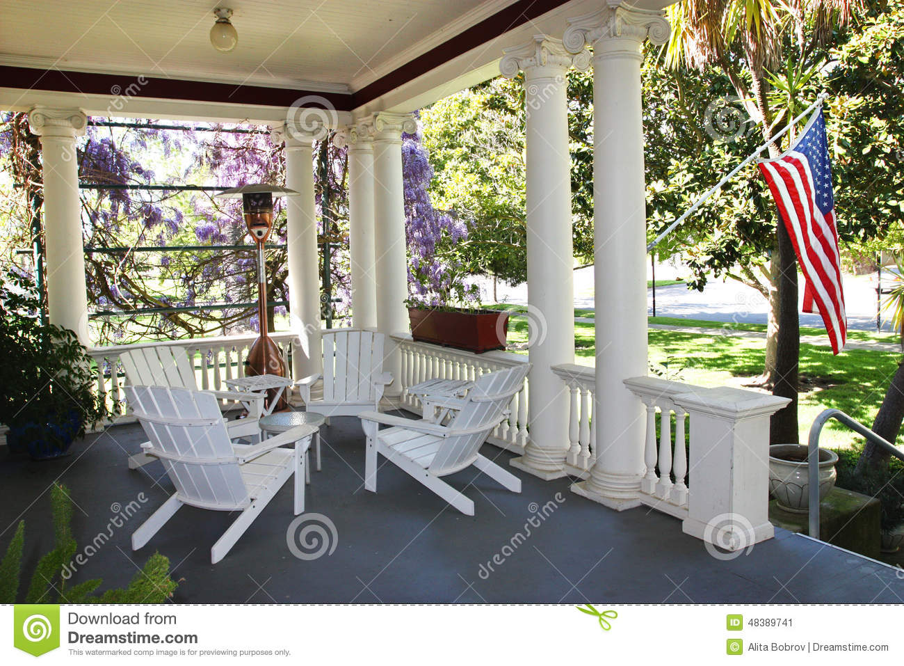 american flag chair graco duodiner high metropolis house porch stock image. image of home, american, blue - 48389741