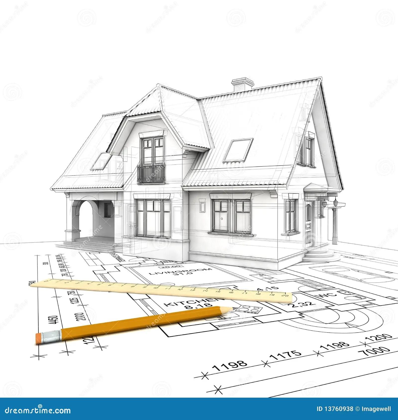 House_project_wireframe stock illustration. Illustration