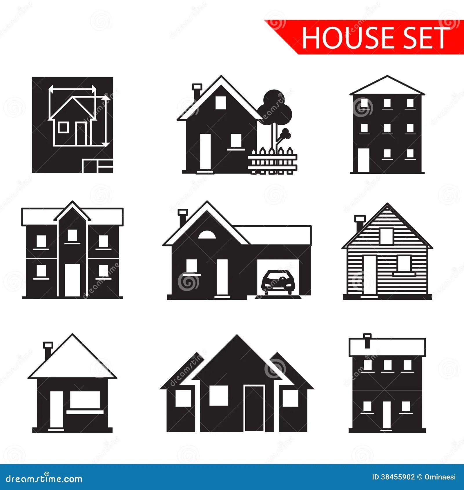 Retro Flat House Icons And Symbols Set Vector Cartoon