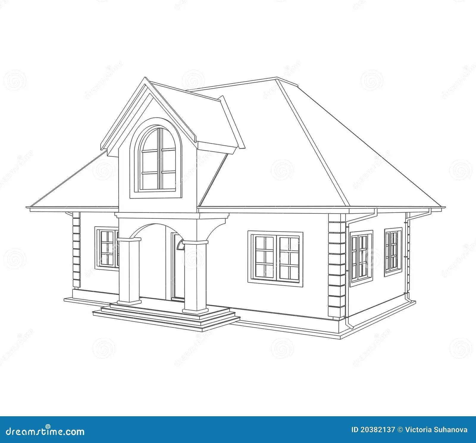 House technical draw stock illustration. Illustration of