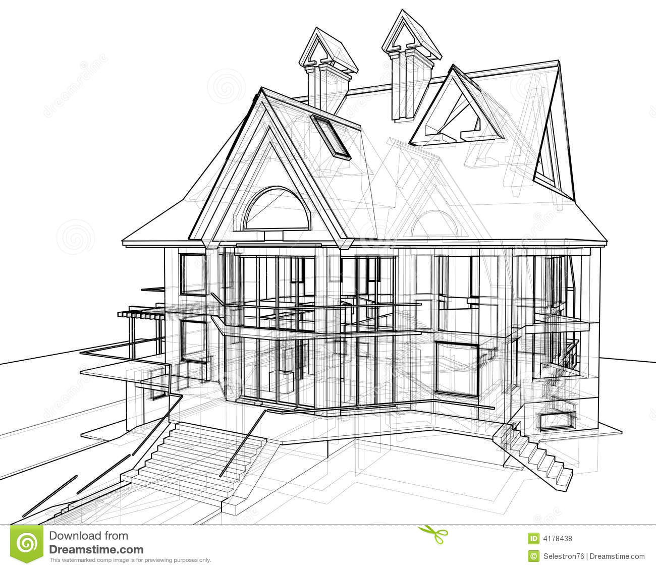 House Technical Draw Royalty Free Stock Photos