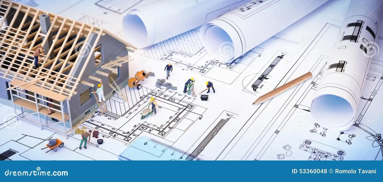House Under Construction On Blueprints Stock Photo  Image