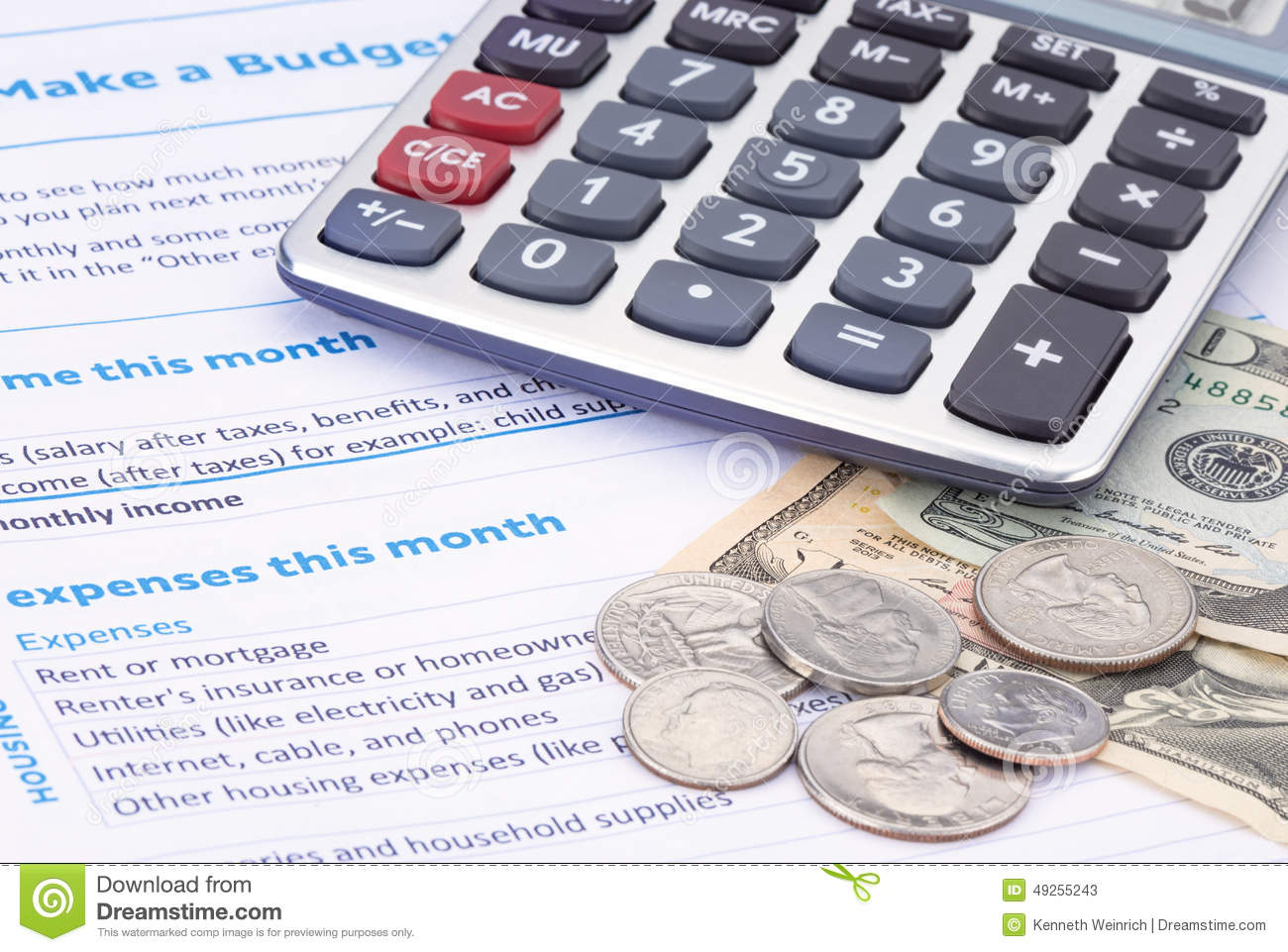 Household Budget Planning Stock Image Image Of Calculator
