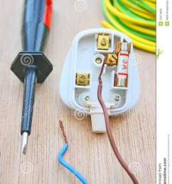 household electrical plug fitted with a three amp fuse and with live and neutral wires disconnected also an electricians screwdriver with earth wire sleeve  [ 957 x 1300 Pixel ]