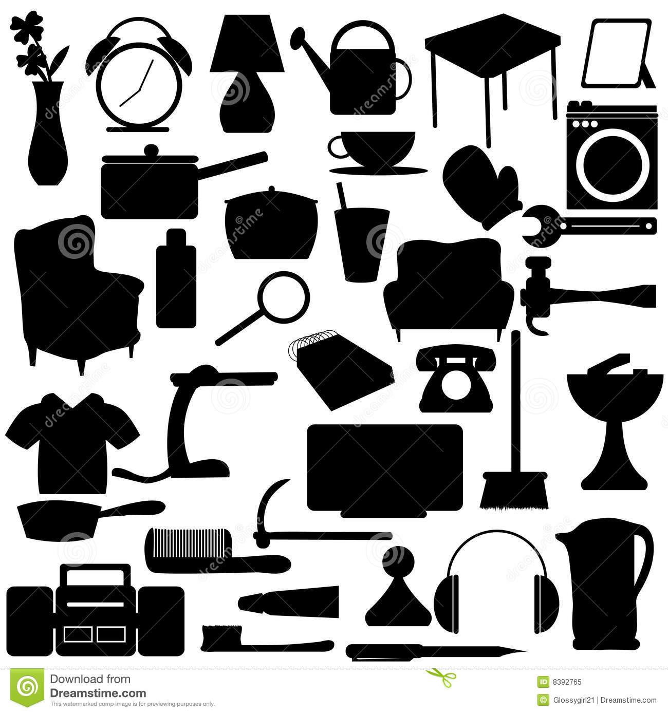 Household Silhouettes Items Royalty Free Stock Photo  Image 8392765