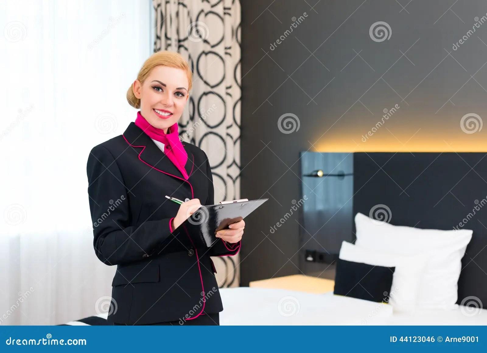 Housekeeper Checking Hotel Room Stock Photo  Image 44123046