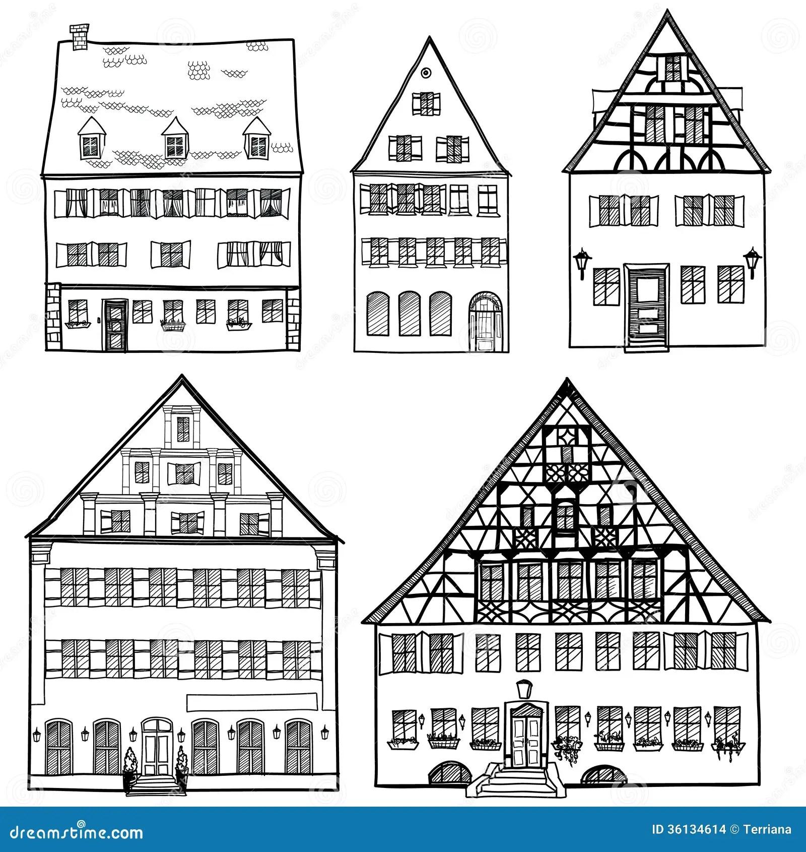 Houses Set Isolated On White Background European Building