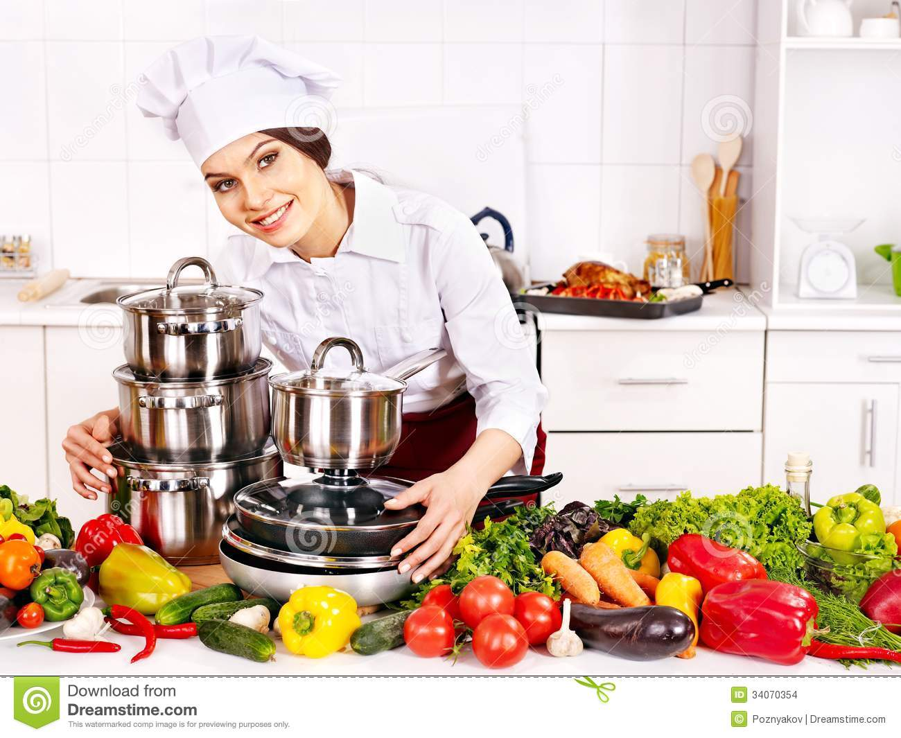 Housewife Cooking At Kitchen Stock Photo  Image of