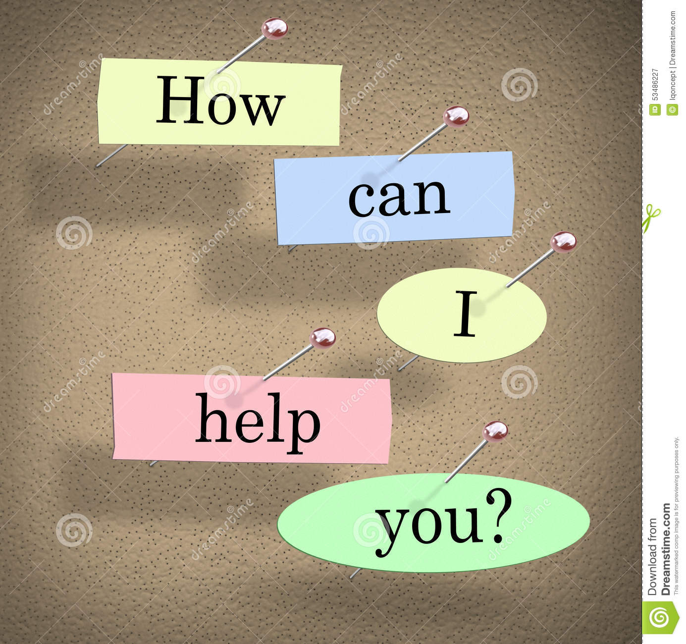 How Can I Help You Words Bulletin Board Question Stock Illustration  Image 53486227