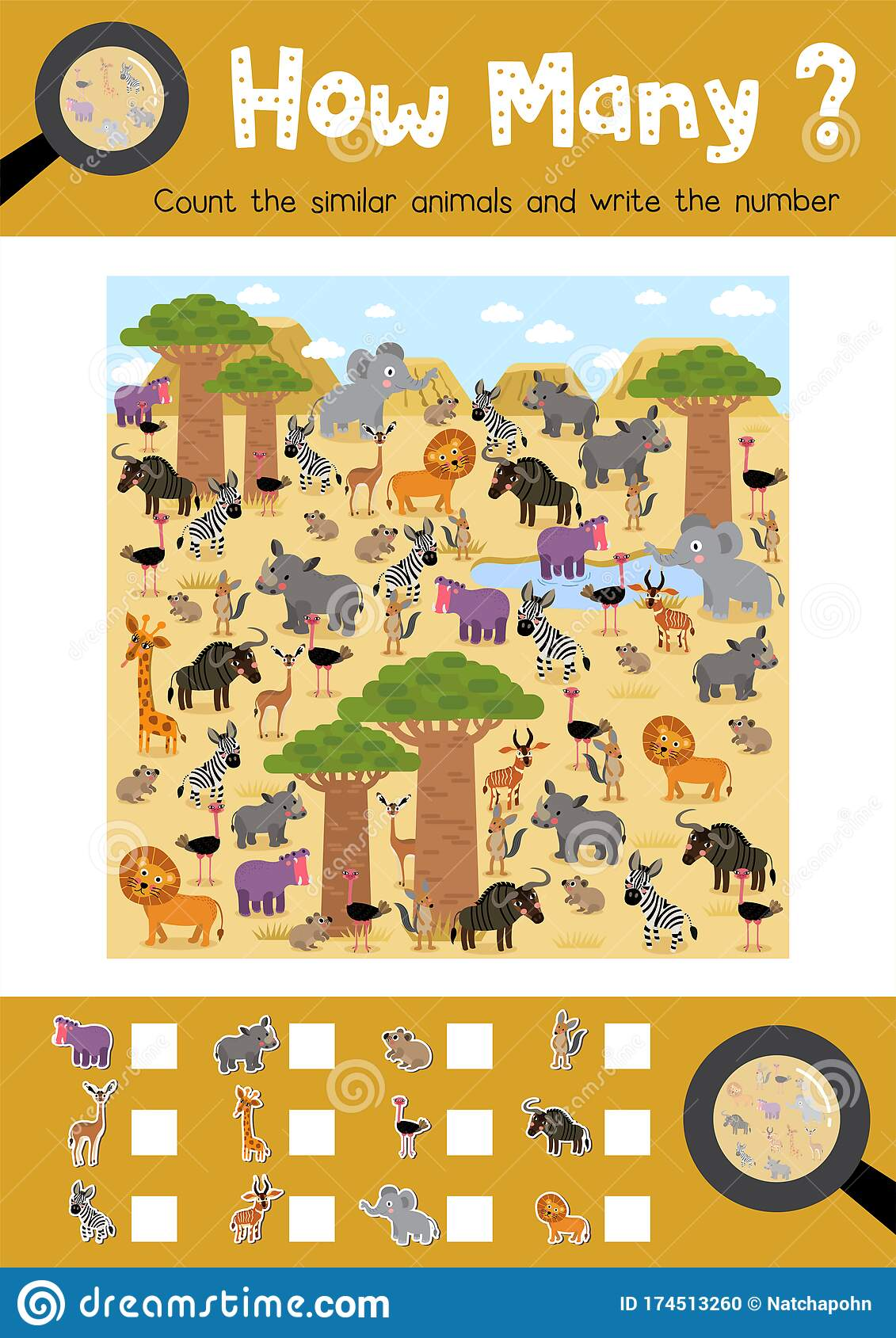 How Many African Animal Stock Vector Illustration Of