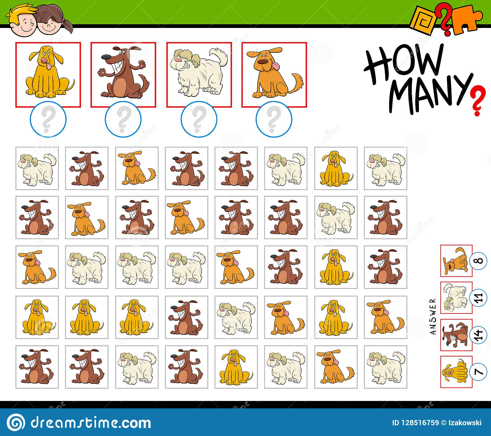 How Many Cartoon Dogs Counting Game Stock Vector
