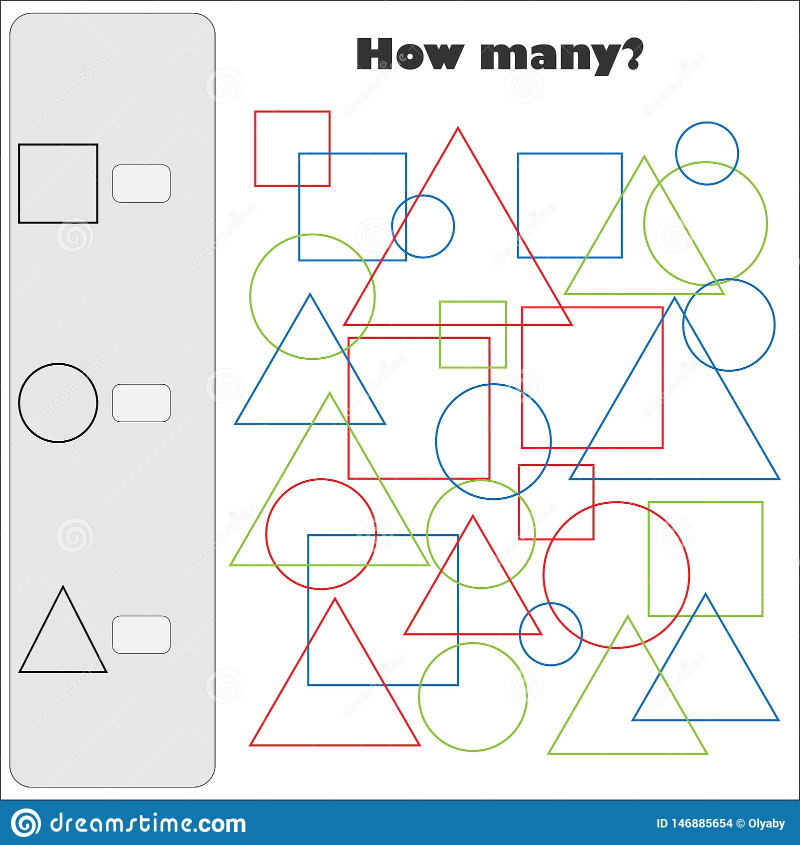 How Many Counting Game With Color Simple Geometric Shapes