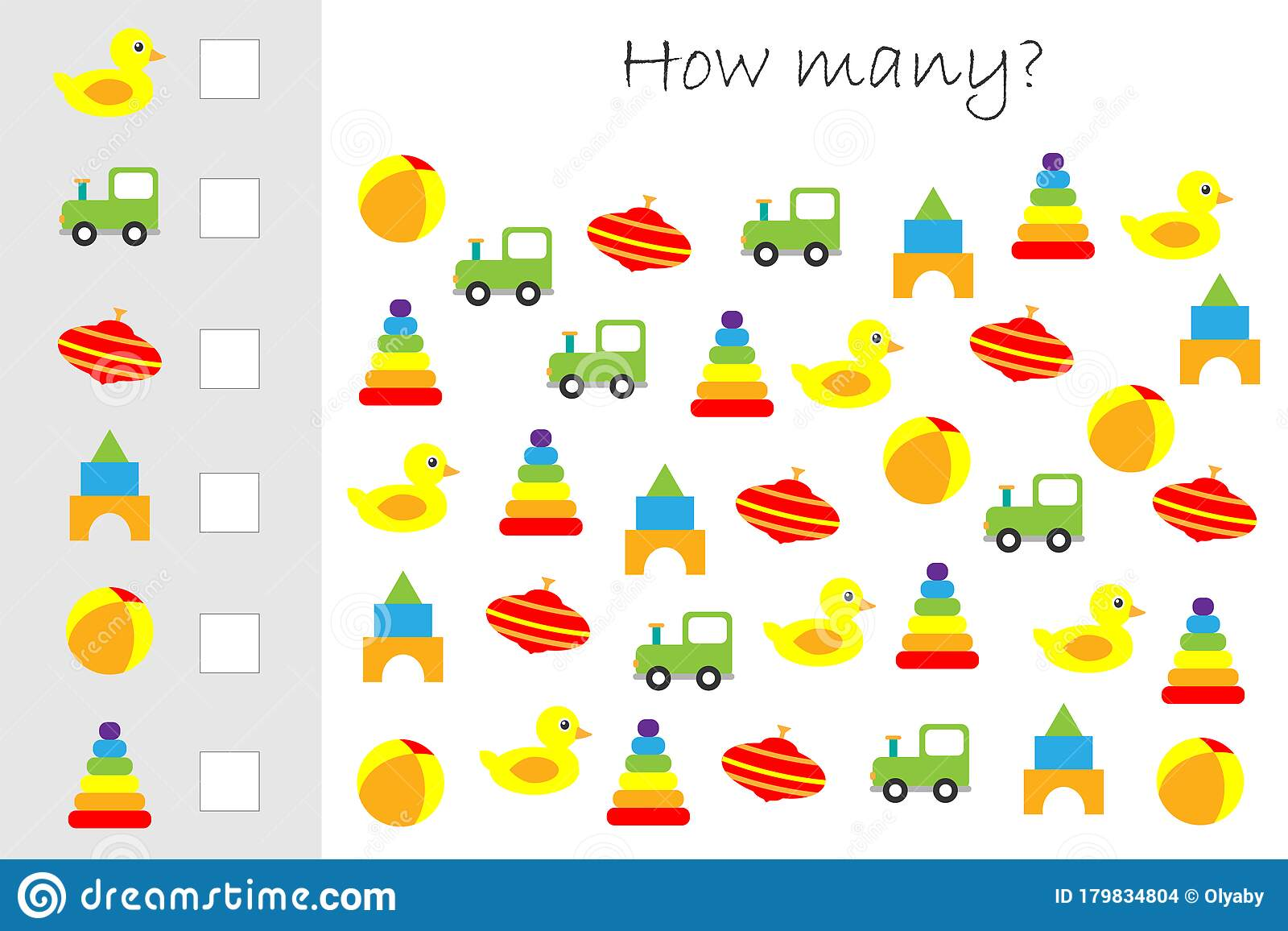 How Many Counting Game With Colorful Toys For Kids