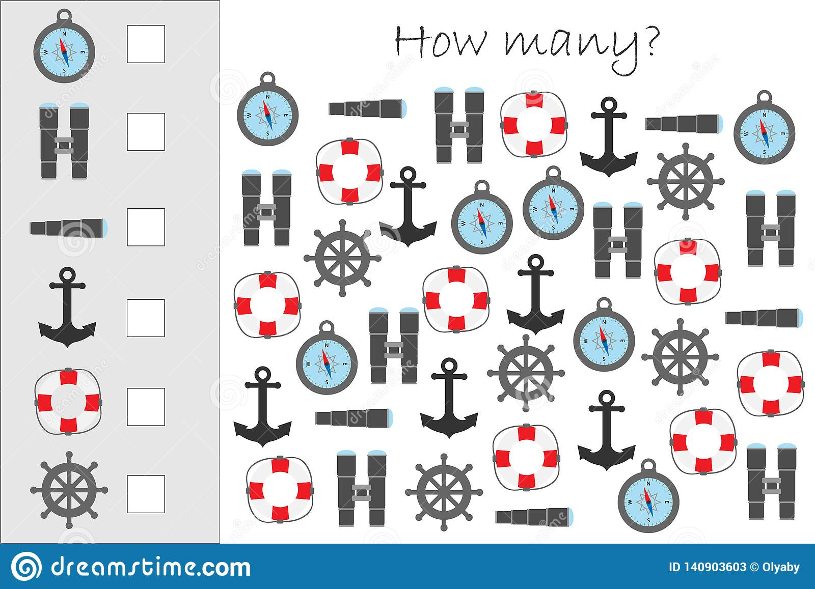 How Many Counting Game With Marine Pictures For Kids