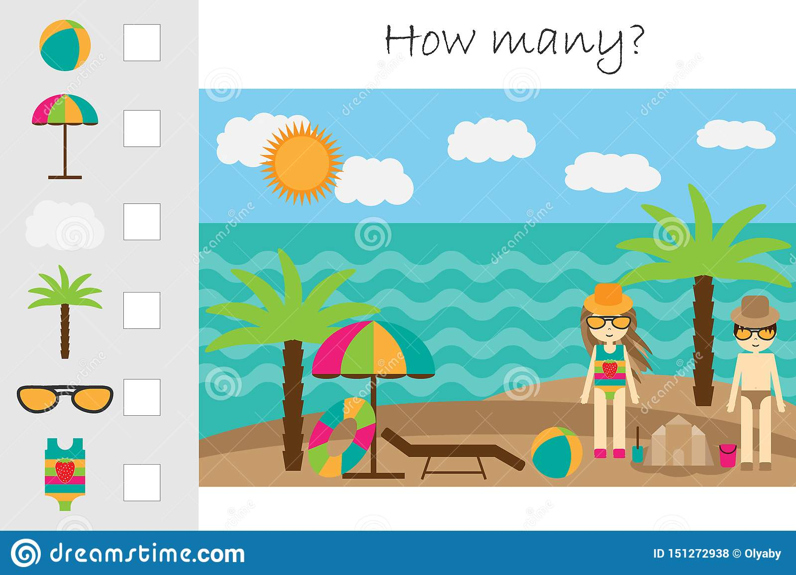 How Many Counting Game Summer Beach For Kids Educational