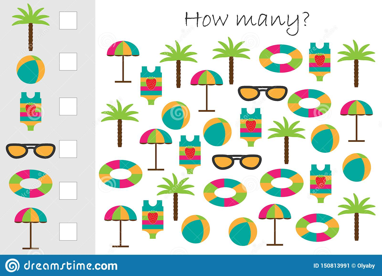 How Many Counting Game With Summer Beach Picture For Kids
