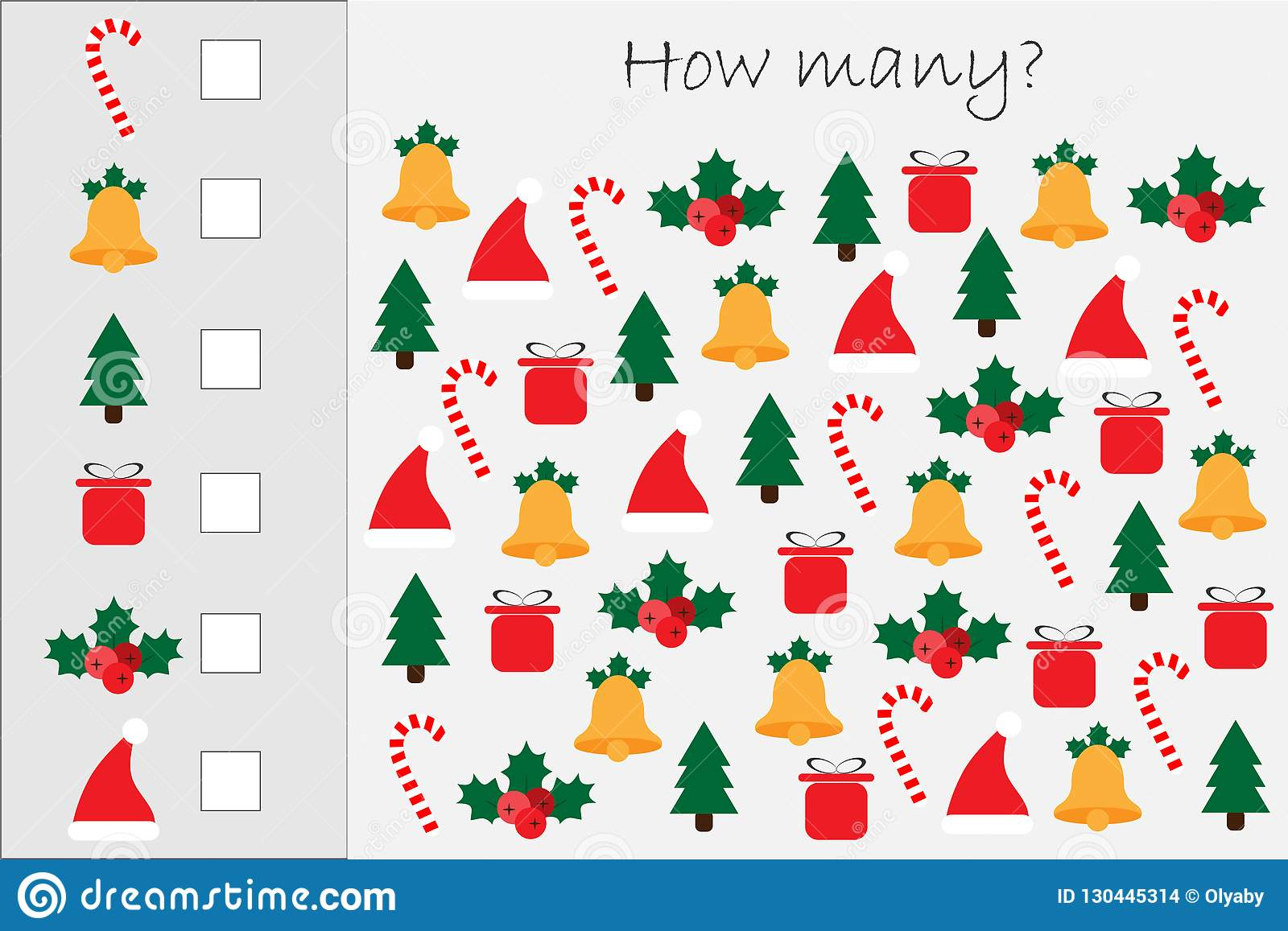 How Many Counting Game With Xmas Pictures For Kids