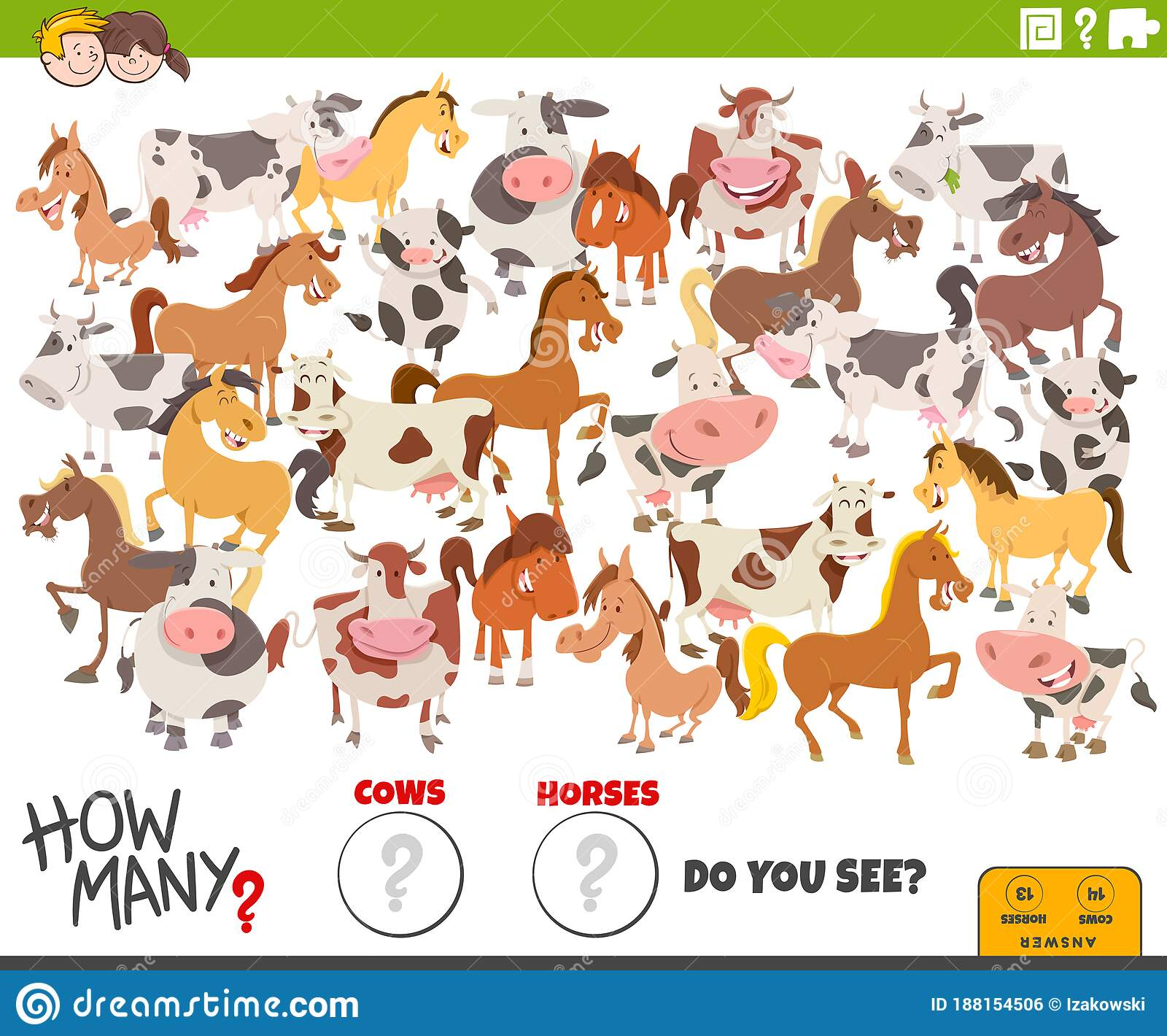 How Many Cows And Horses Educational Task For Children