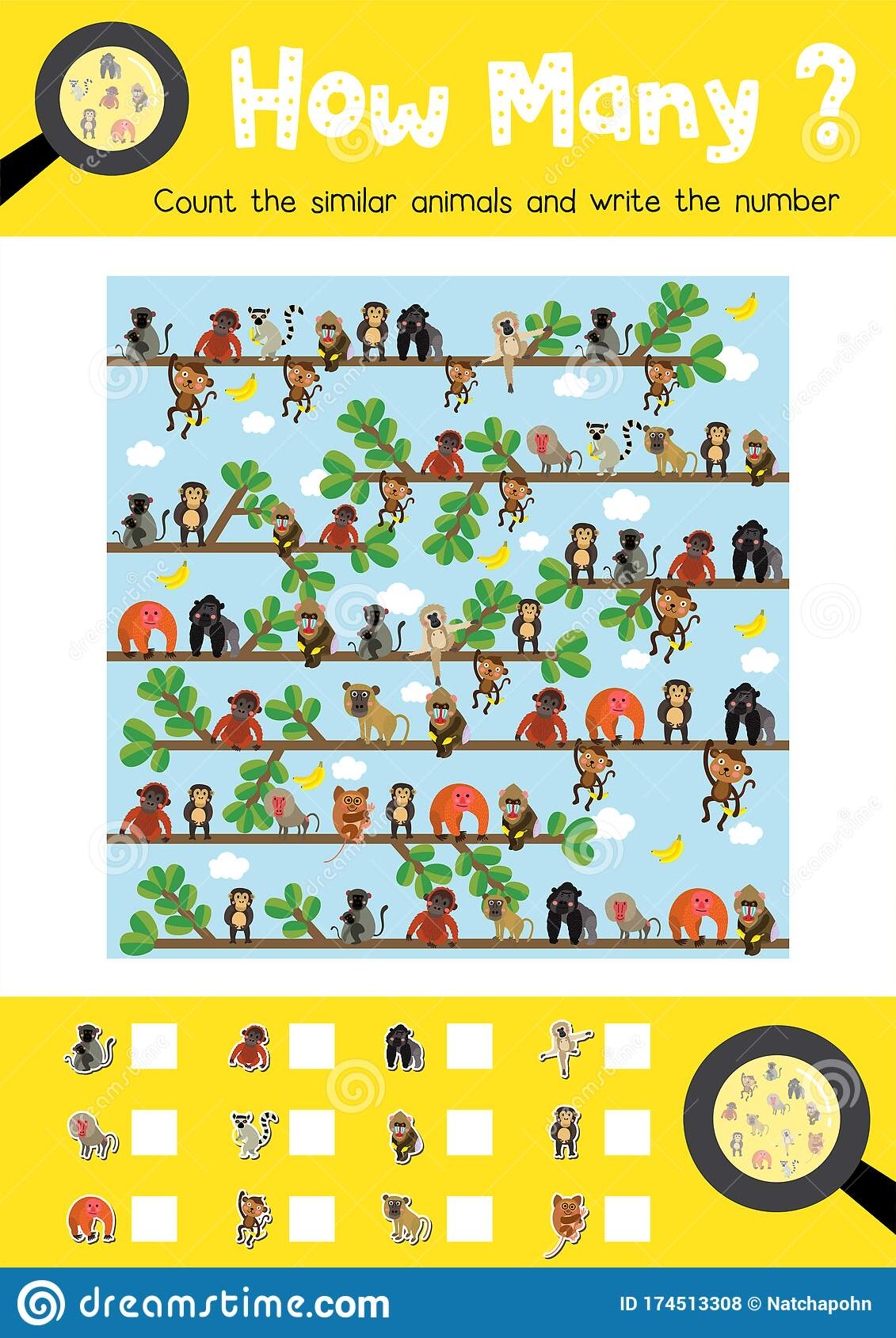 How Many Cute Monkey Stock Vector Illustration Of