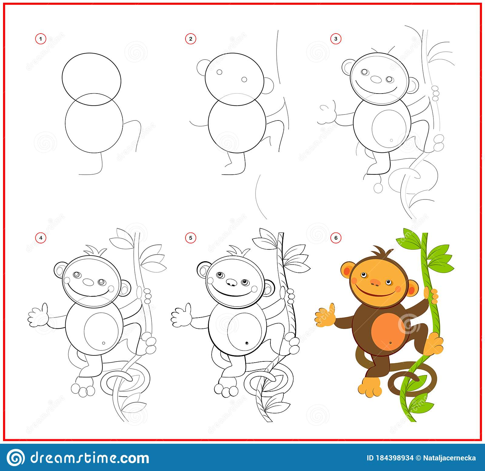 How To Draw Cute Toy Monkey Educational Page For Children