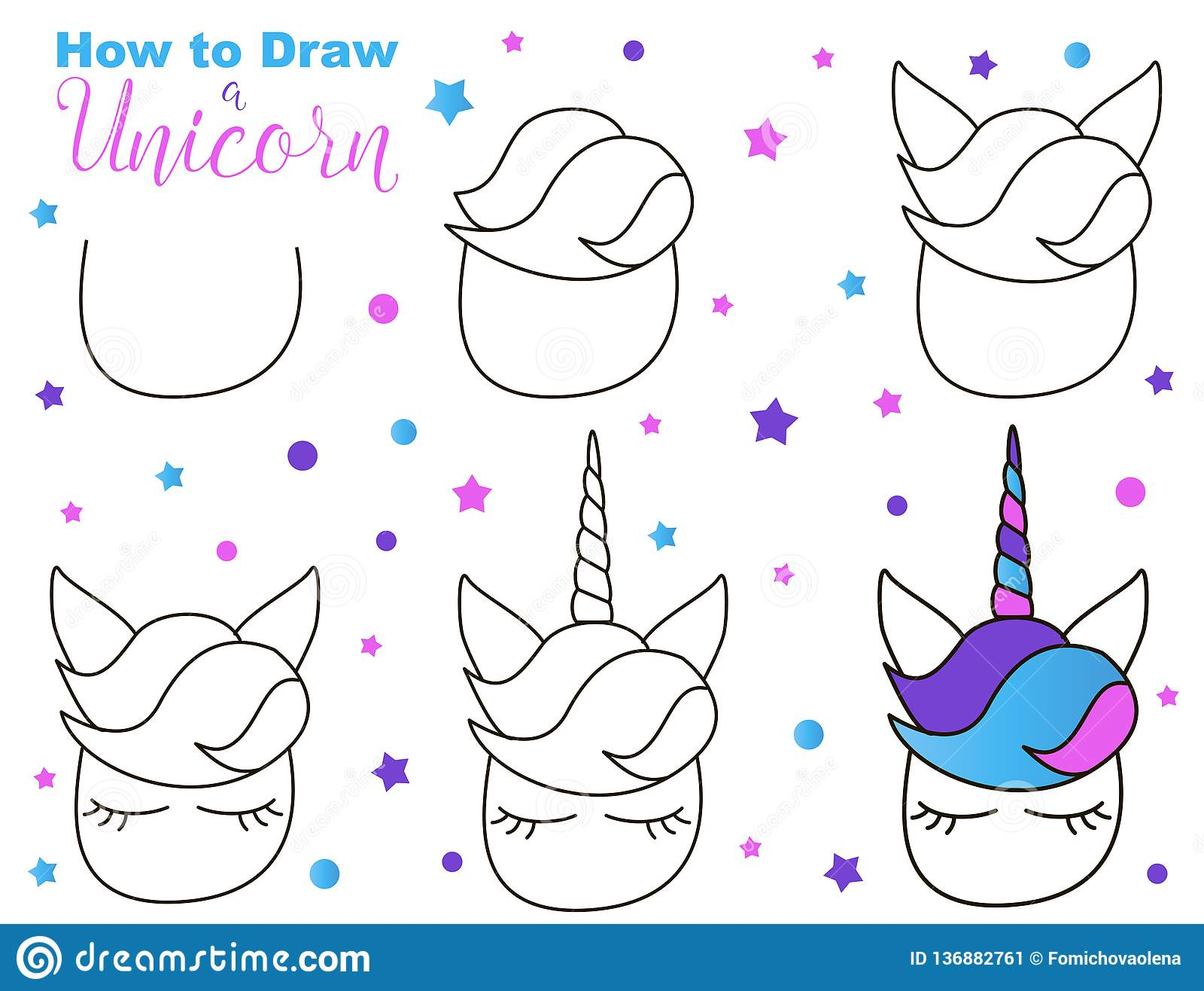 How To Draw Cute Unicorn Easy Steps For Children Activity
