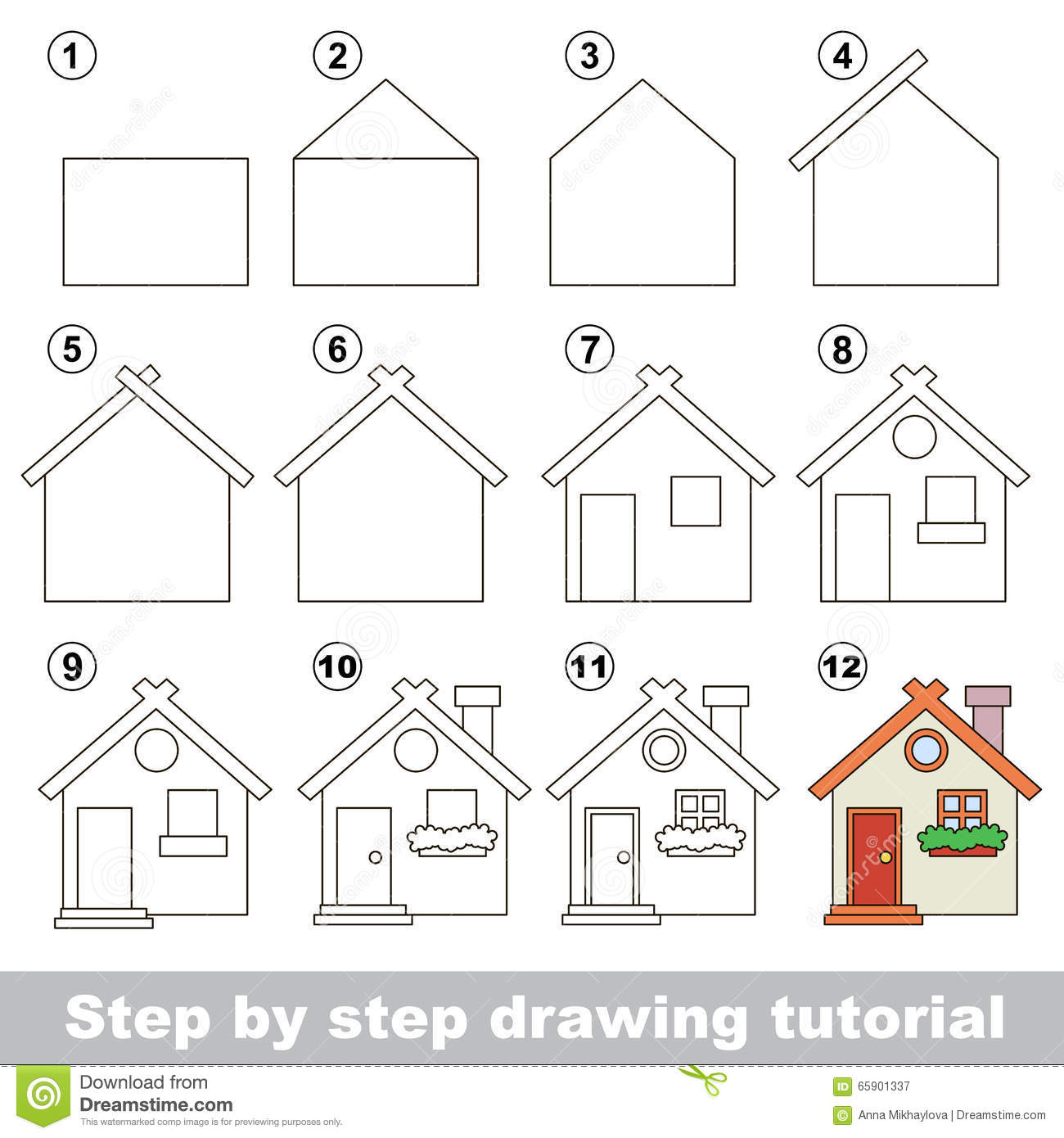 How To Draw A Toy House Stock Vector Illustration Of