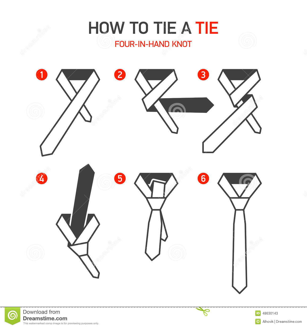 How To Tie A Tie Instructions Stock Vector