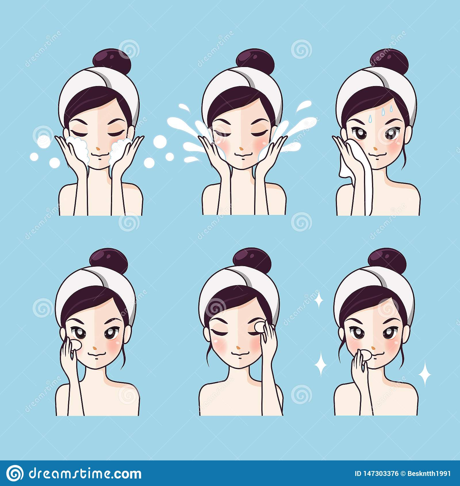 How To Wash Step Facial Cleansing Stock Vector