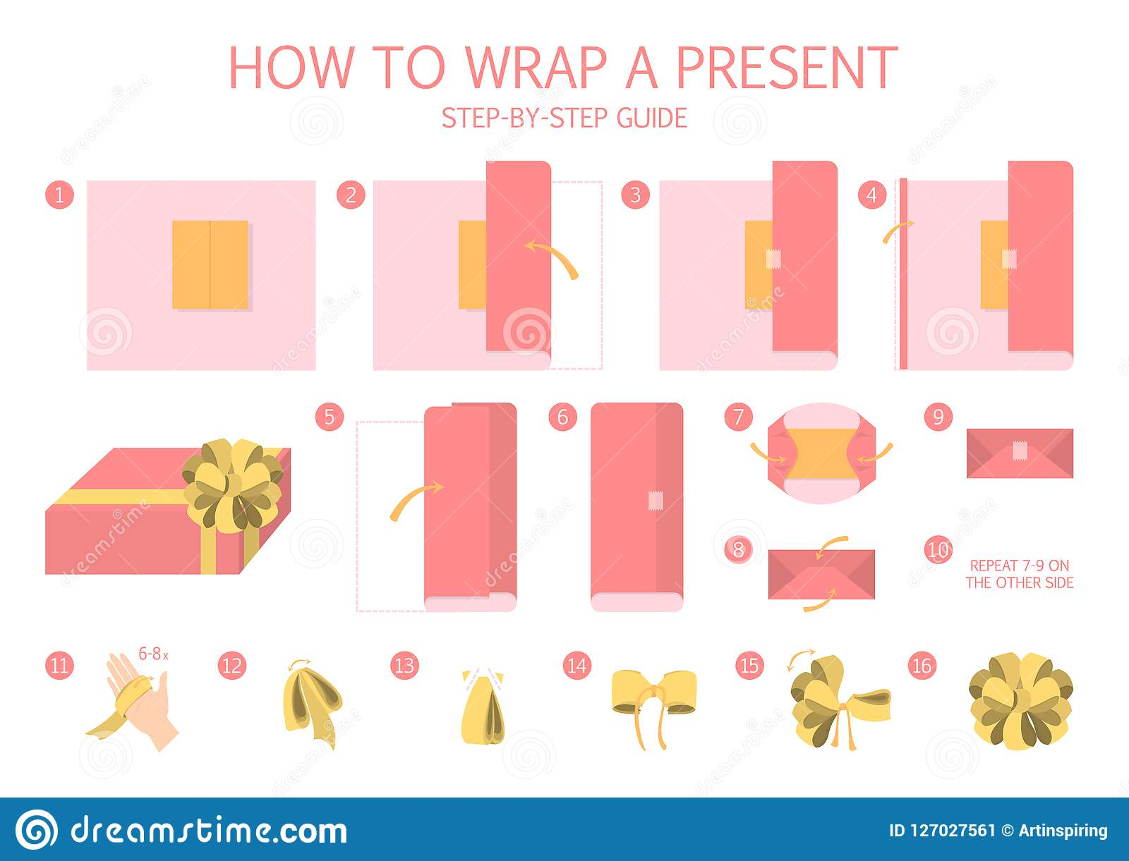 How To Wrap A Present Step By Step Instruction Stock