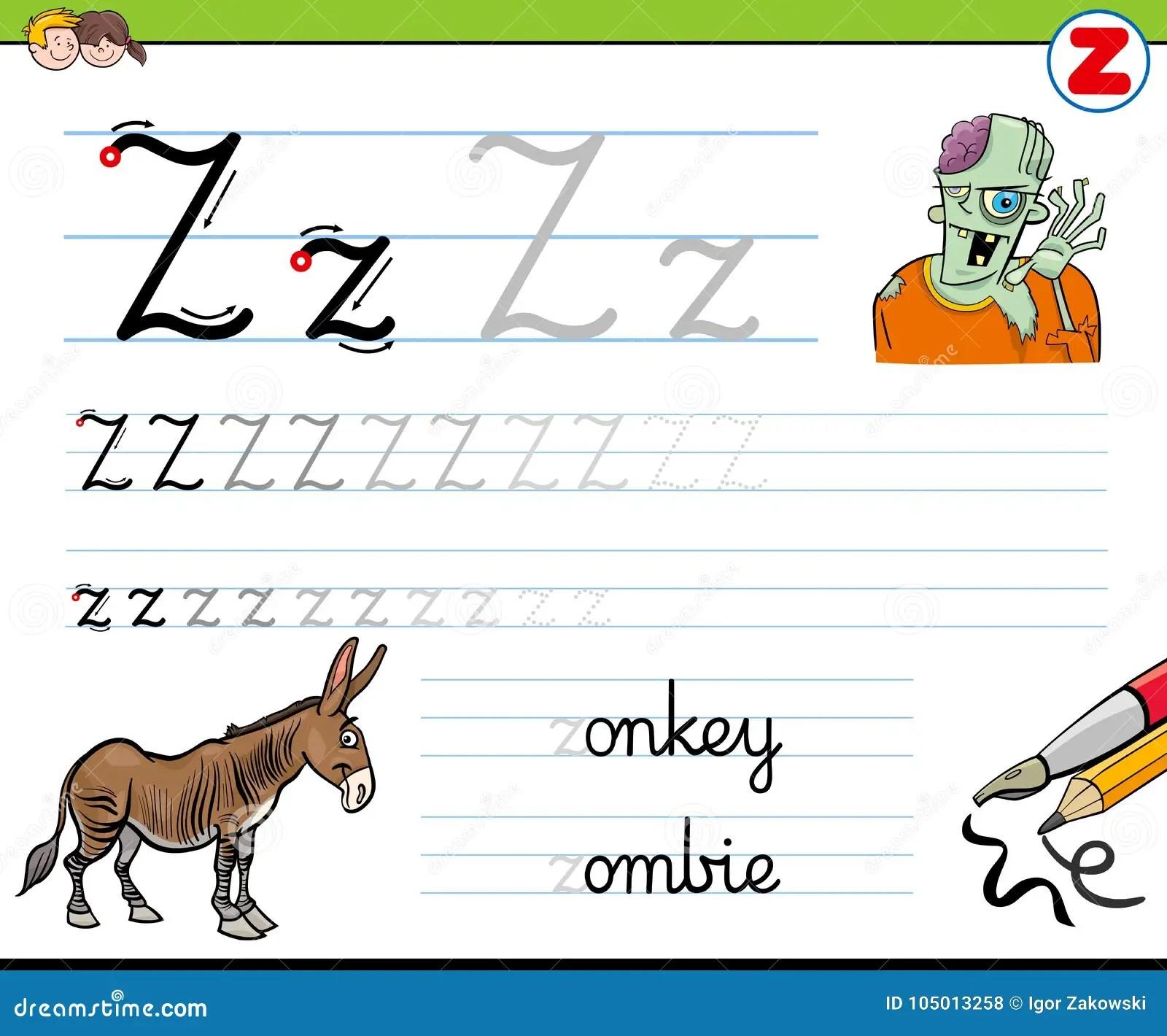 How To Write Letter Z Worksheet For Kids Stock Vector