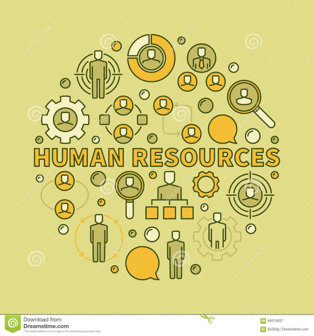 medium resolution of hr creative illustration vector circular sign made with phrase human resources and colorful recruitment icons