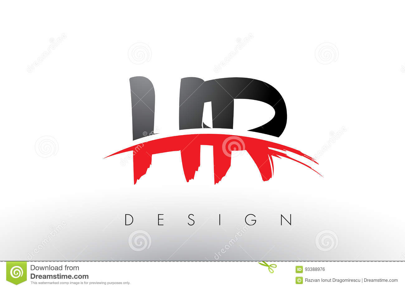 Download Hr H R Brush Logo Letters With Red And Black Swoosh Brush Front  Stock Vector -