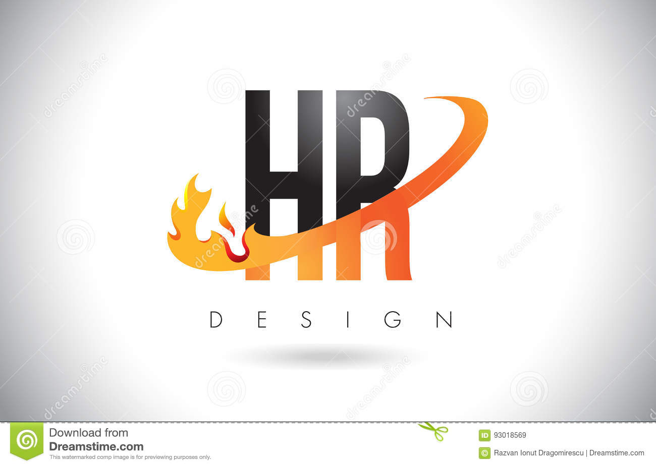 Download Hr H R Letter Logo With Fire Flames Design And Orange Swoosh.  Stock Vector -
