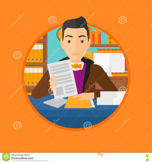Hr Manager Checking Files Vector Illustration. Cartoon