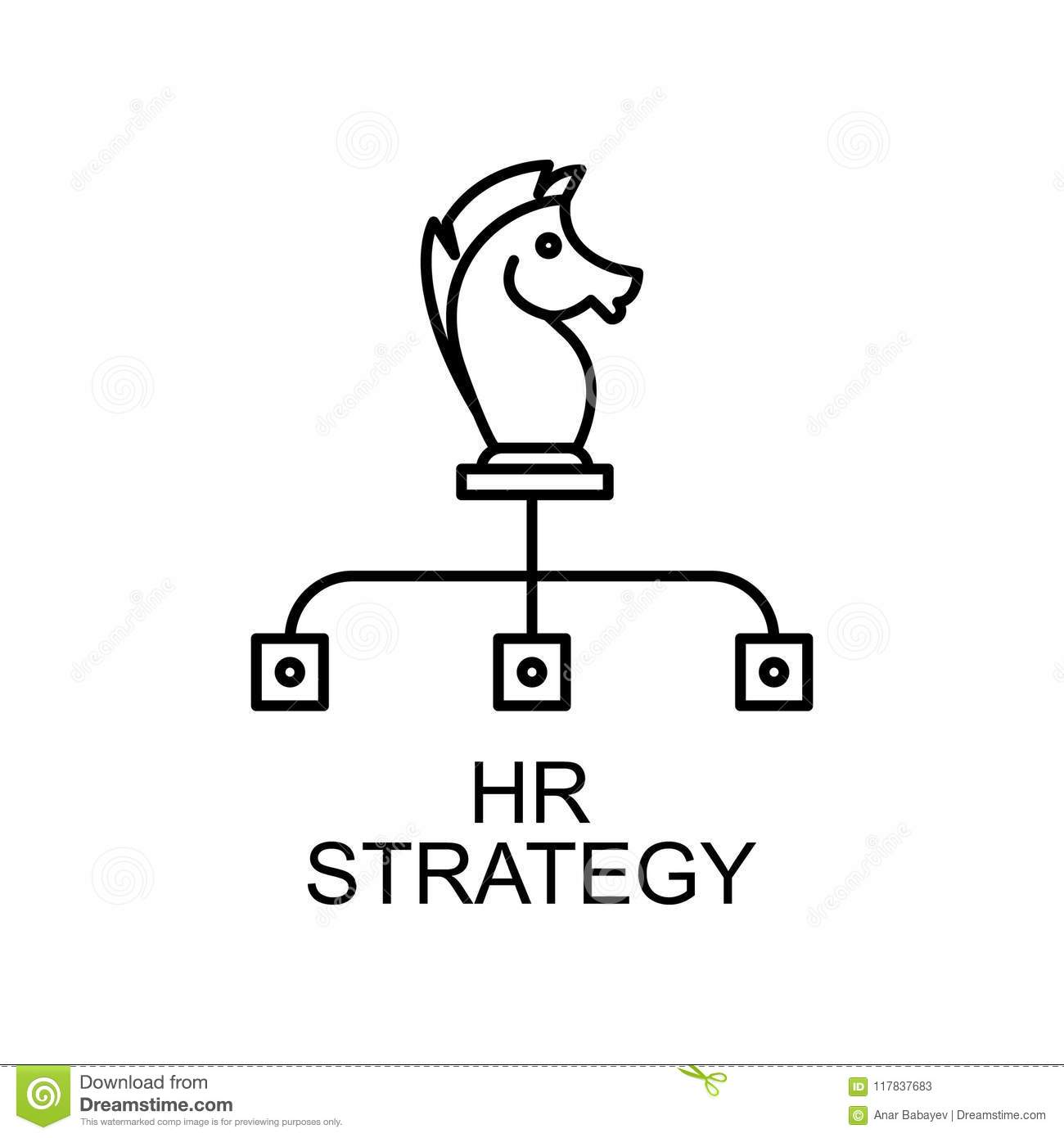 HR Strategy Line Icon. Element Of Human Resources Icon For
