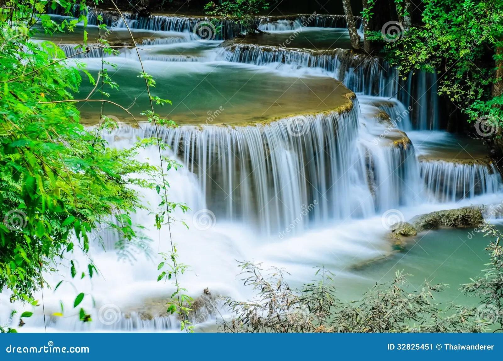 Falling Water Wallpaper Huay Mae Khamin Waterfall Flowing Water Paradise In