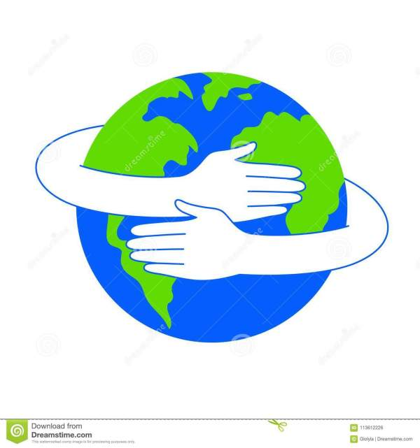 Hug Globe. Happy Earth Day Concept Stock Vector