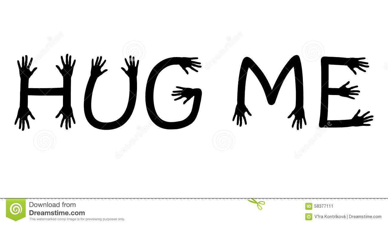 Hug Me Written With Hand Letters, Black And White Vector