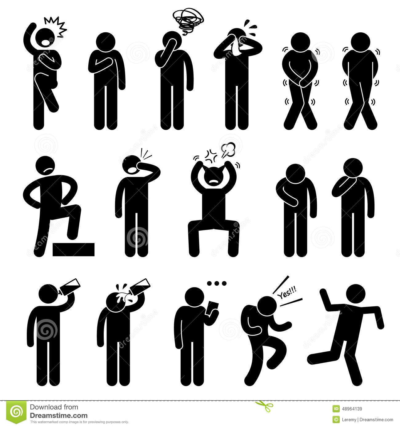 Human Action Poses Postures Icons Stock Vector