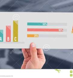 digital composite of human body statistic bar charts and hand holding card [ 1300 x 770 Pixel ]