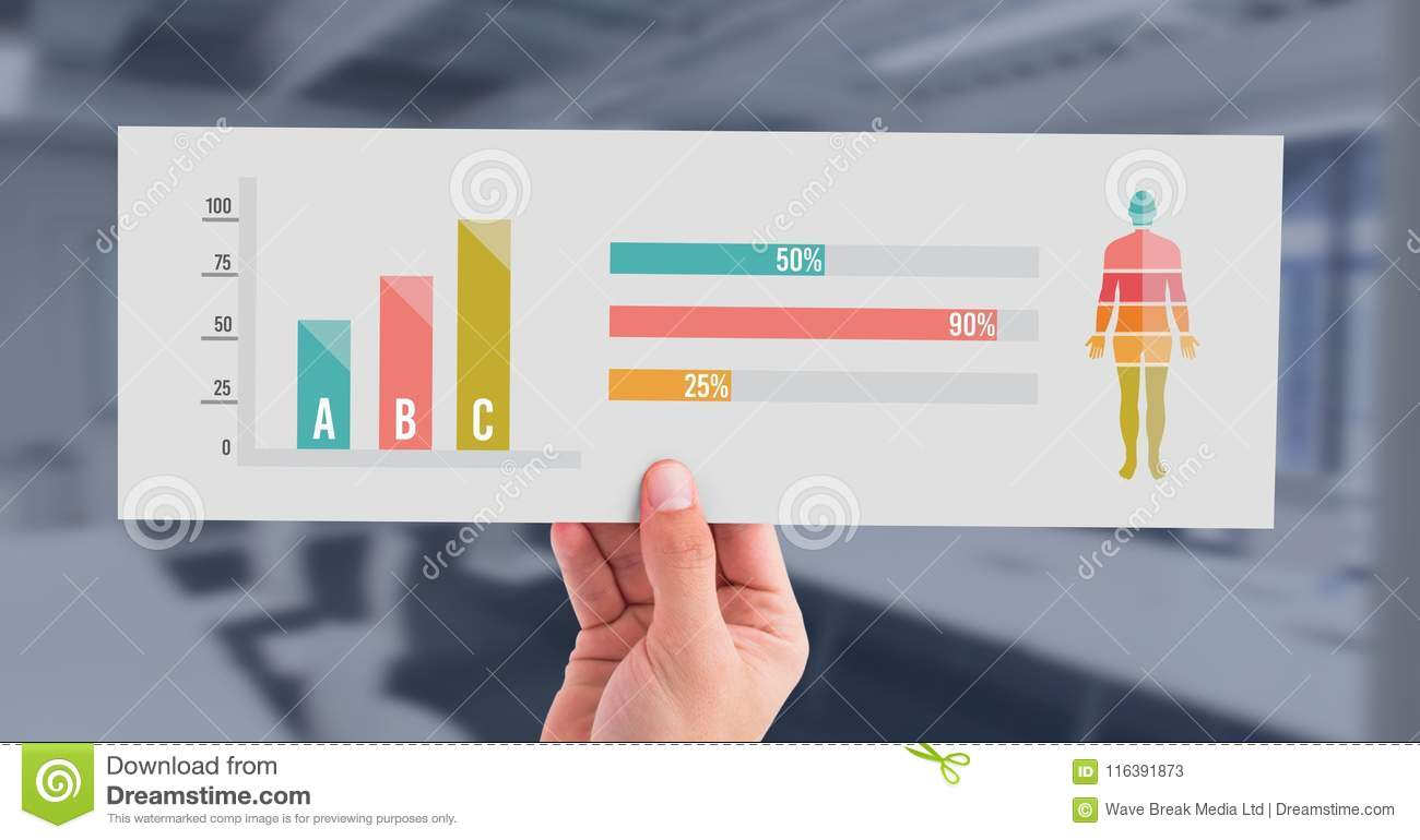 hight resolution of digital composite of human body statistic bar charts and hand holding card
