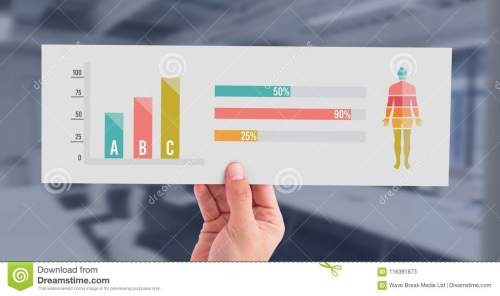 small resolution of digital composite of human body statistic bar charts and hand holding card