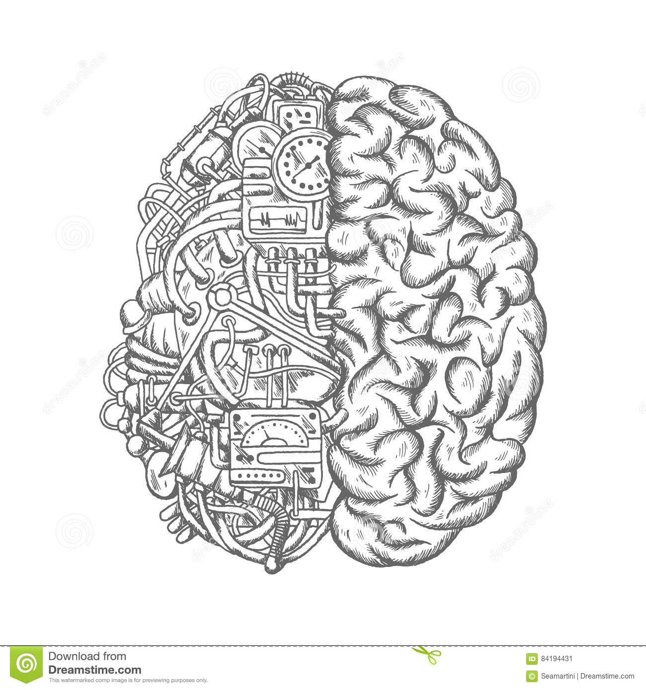Human Brain Mechanism Engine Gears Vector Sketch Stock